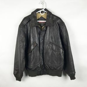 RAGE Vintage Brown Leather Bomber Jacket Large